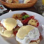 egg benedict with bakery
