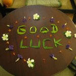 It was great to come back to our room to find a lovely message written in flowers.