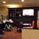 The hotel set up to watch Sound of Music in the lobby