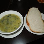 Potato and leek soup and slice of bread