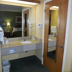 Sink and vanity area is nice size and very well lit, which is a must for all women!