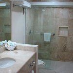 Walk in shower in club room.