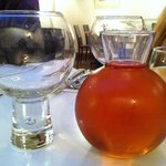 The exceptionally silly wine glasses and sample jar - sorry, caraffe