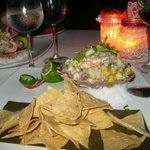 Seafood Ceviche served in a seashell!