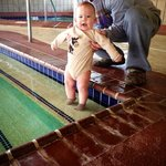 My son enjoyed splashing his feet in the nice heated pool!