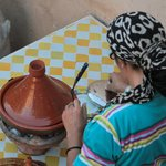 Zahra preparing our tajine.