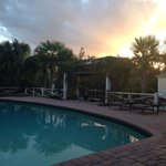 Pool deck at sunset. Tranquil, relaxing.