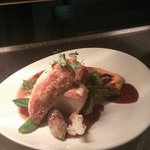 chicken supreme,  sage,& onion gnocchi, spiced carrot puree,.. thyme jus..