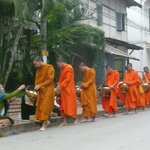 Morning Monks collecting their food