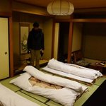 the futon and room at night