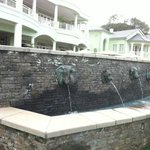 Fountain in outdoor dining area.
