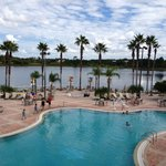 Clubhouse pool and Lake Eve