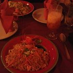 Pad Thai and spicy noodles! Drink is Thai iced tea, excellent!