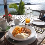 Breakfast on the restuarant veranda