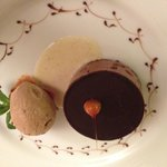 chocolate and caramel delice with coffee ice cream