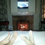 Relaxing in hotel robes after supper