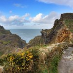 Stunning view looking down to Tintagel Castle