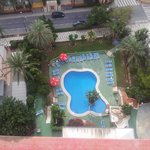 looking down to pool area