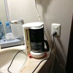 The coffee station has no plug nearby, so we had to use it at the sink.