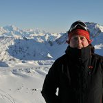 On top of the Mont de la Chambre with Mont Blanc view behind