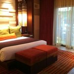 King size bed in upgraded room on 1st floor