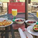 Mimosas are served with full hot breakfasts/brunch on Saturday and Sunday mornings