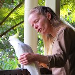 Kathy with her Sulphur-crested Cockatoo