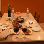 duck dinner with red wine 31dec2013