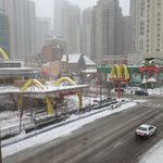 Nice street view from Best Western River North in snowy Chicago!