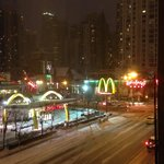Nice night street view from Best Western River North in snowy Chicago!