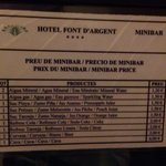 Mini bar prices Jan 2014