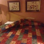 This is how the bed looked when I first walked in the room. Wish you could see all the food behi