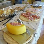 Breakfast with cold cuts and freshly baked croissant