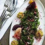 Roasted Beet and Kale Salad with Pistachio Crusted Goat Cheese