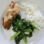 lunch: fish, a taype of waterspinach, rice