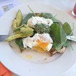 Poached Eggs on Sour Dough with Avocado & Pesto - YUM!