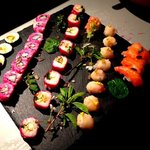 sushi variegated natural colors! with St. Jacques, salmon and prawns. organic vegetables