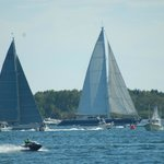 Racing sail boats finishing at Boothbay Harbor