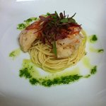 Butter Poached Lobster Tail w/Capellini & Scallion Emulsion
