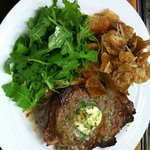 Broiled NY Strip Steak w/Parmesan Yukon Gold Chips & Truffled Baby Arugula
