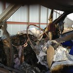 front of van that was burned at motel 6