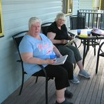 While the grand kids play ,grannies enjoy a morning cuppa.