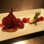 Poached William Pear, Frangipane, Creme Chantilly