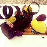 Ovation dark chocolate brownie, beetroot and passion fruit.
