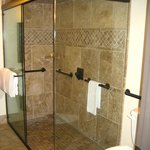 Walk-in shower with dual rain shower heads