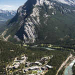 The Banff Centre Campus is beside the Bow River near Mount Rundle in Banff National Park