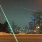 Awesome view of Detroit from the front of the hotel.  It was snowing.