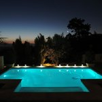 Pool, evening, sunset, stars and the moon