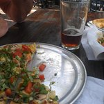 Vegie pizza, salad and beer