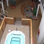 looking down from 3rd floor indoor hot tub